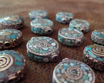 Turquoise Mosaic Bead, Handcrafted in Tibet (Sold Individually)