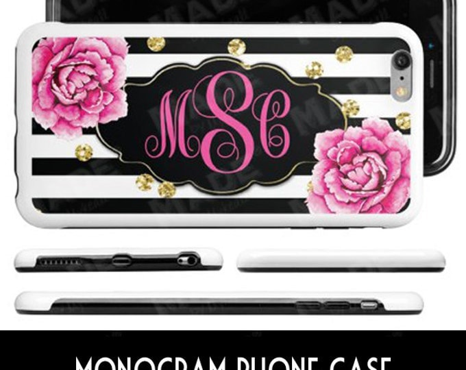 MONOGRAM Phone Case - PINK PEONIES, Electronics, Personalize, Gold Glitter, Phones, Accessories