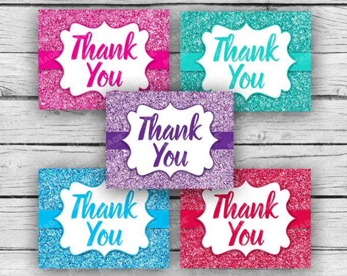 Printed THANK YOU GLITTER Note Card Set, Motivational Cards, Positive Inspiration, Printed Thank You Cards, Stationery