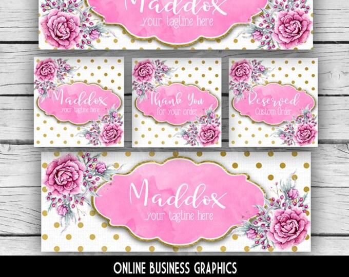 ETSY & SOCIAL MEDIA Set - Maddox Design - Gold Foil Dot-Pink Peony Floral, Watercolor Etsy Set, Etsy Banner Set, Digital, Business