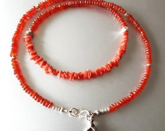 Faceted Carnelian and Genuine Sicilian Red Coral Chip NECKLACE with Fine Silver Beads and Shell Charm