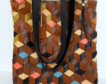 Brown Leather Tote Bag - Leather Bag - Brown Leather Tote Bag - Black,blue,Dark Leather