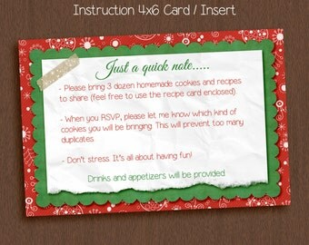 Instruction Card Insert 4 x 6. Cookie Exchange Cookie Swap Holiday Party.