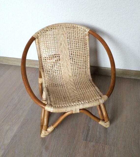 Petit fauteuil denfant en bambou et rotin vintage - Petit fauteuil vintage ...
