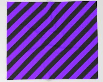Purple Blanket, Purple Bedding, Purple Throw Blanket, Purple Fleece Blanket, Purple Black Blanket, Purple Bedroom