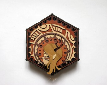 Cernunnos hexagon decorative box for jewelry, treasure, stash, gift box, unusual detail, lasercut, wood, celtic, children