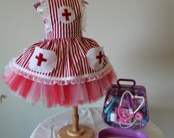Cathy The Candy Striper Costume, Red and White, Halloween, Birthday Party, Dress up, Photo Prop,