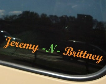 Names or custom text Car Decal Custom Colors and Fonts