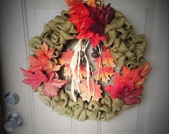 """18"""" Fall Burlap Wreath"""
