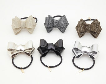 Pearl Glittering Shining Hair Bow Elastics Ponytail Holder Free Shipping Women Hair Bow Holder