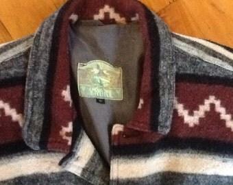MENS VINTAGE festival 80's surf boho /alpine wool GEOMETRIC jacket