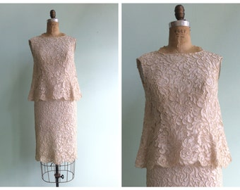 Vintage 1960's Soutache Lace Dress   Size Small