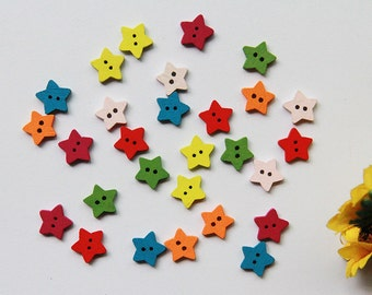 50 piece star wood Button,star pattern wood button,colorful button for child,12.5 mm x 12.5 mm(109-12)