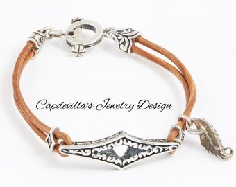 Sterling Silver and  Leather Bracelet