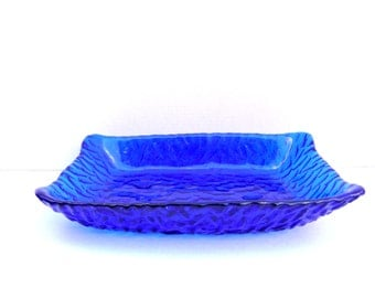 Vintage Cobalt Blue Glass Platter, Serving Platter, Serving or Display Platter, Tableware or Collectible Display Glass , Home Decor