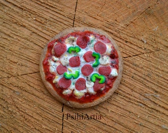 Polymer clay food Pizza magnet Fridge magnet Polymer clay magnet Handmade magnet Food magnet Miniature food Miniature pizza