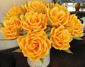 Sun yellow roses arrangement/ Paper flower/ Bridal bouquet/ Wedding decor/ Bridal shower/ Floral centerpiece/ Birthday party decoration
