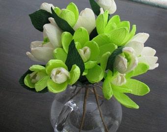 Spring flower paper magnolias,Crepe paper flowers, Wedding flowers, Mother's day, Bridal flowers, Home decor table arrangement, handmade