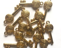 Gold Tone Key Charms 10 pieces