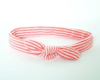 Newborn Knotted Headband // Soft Knit // Adjustable // Coral
