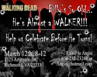 Printable Download Funny Walking Dead Birthday Invitation
