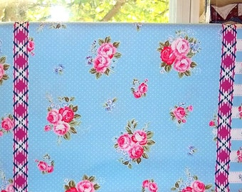 SALE Flower Sugar Maison Cotton Oxford Fabric 2015 Lecien 40566L-70  Border Blue Pink Roses Polka Dots
