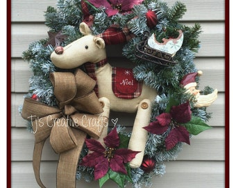 Reindeer Wreath, Reindeer Christmas Wreath, Holiday Decor, Christmas Decor, Holiday Decorations, Rustic Wreath
