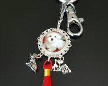 Dog keychain Puppy bag dangle Red Tassle jeans dangle I love my Dog Bagcharm Maltese keychain Bag accessories Gift for Her Dog lover gifts
