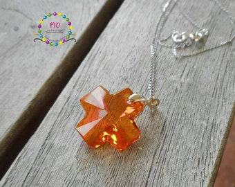Sterling Silver Necklace Cross Crystal Necklace Swarovski Crystal Necklace Christian Necklace Orange necklace