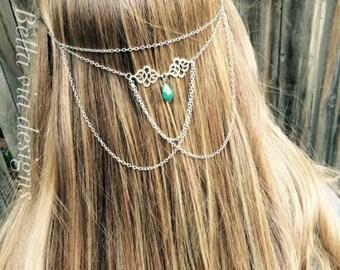 Festival Hair Chain Jewelry, Head Chain Accessory For Festival Hair, Tribal Hippie Head Chain, Turquoise Hair Necklace, Boho Hair Accessory