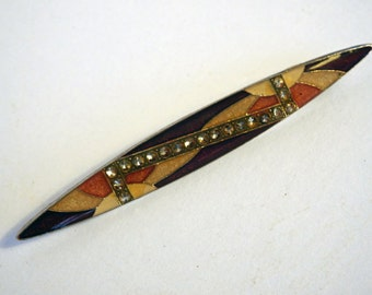 Vintage French Mid-Century Style Inlay Brooch from Paris Flea Market