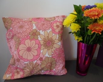 Handmade genuine vintage 1960's fabric pink flowery cushion