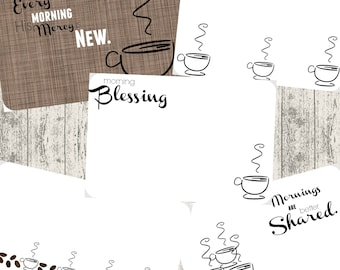 Printable 4x6 Index Journaling Cards - Coffee Theme - Bible Journaling - Note Cards - Printable
