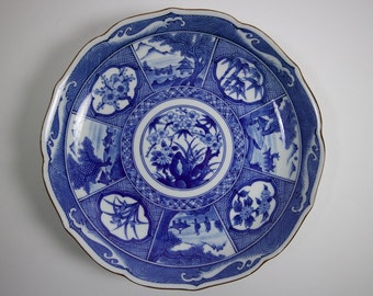 Vintage Japanese porcelain blue and white dish