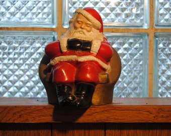 Vintage Christmas Santa Bank Metal/1970's Advertising/Coin Bank/Freedom National Bank/Rare