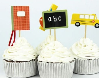 12 Set School/ABC Themed/Teacher Cupcake, Cake, Toppers, Picks, Party Picks