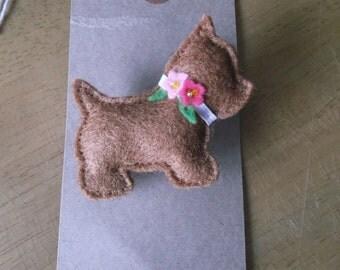 Felt Terrier Dog brooch with flowers