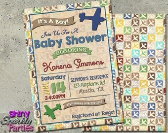 AIRPLANE BABY SHOWER Invitation - Special Delivery Baby Shower Invitation - Airplane Shower - Plane Baby Shower Invite - vintage airplane