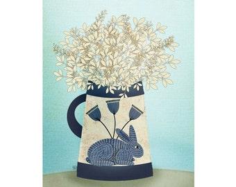 "Folk Art Still Life Giclee Print ""Blue Rabbit"""
