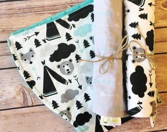 Minky Burp Cloths – Woodland Bears & Foxes Burp Cloths