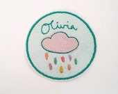 Custom Name Patch/Personalised Embroidered Patch/Rain CloudMotif/Kids Patch/Sew On/Iron on