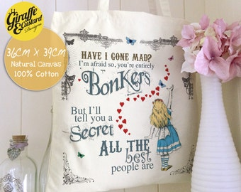 ALICE IN WONDERLAND Tote Bag Canvas Cotton Hearts Bonkers