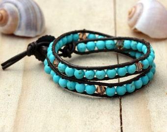 Turquoise beaded bracelet, Turquoise wrap bracelet, Wrap bracelets, Chan luu bracelets, Womens bracelets, Leather wrap bracelet, Chan luu
