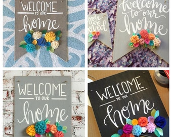 CUSTOM  Felt Flower Signs, Wooden Welcome Sign, banner sign, wooden banner, Wood Wall Art, door sign, large banner sign