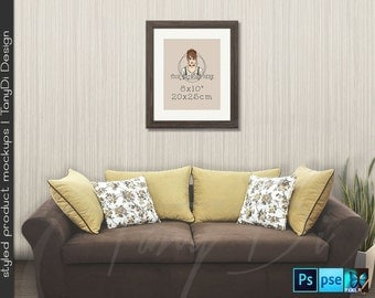 Living Room #10 Sofa Wall Interior, 8x10 11x14 Brown Wooden Portrait & Landscape Frames, 4 Print Display Mockups, PNG PSD PSE, Custom colors