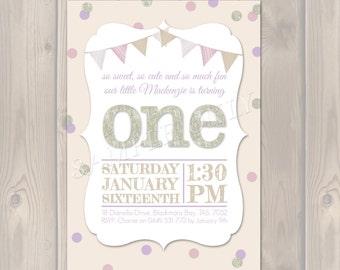 Personalised Confetti Birthday Invitation, Glitter, Pink and Gold. First Birthday Invitation