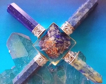 ORGONE LAPIS LAZULI Crystal Four Point Pyramid Energy Generator, Orgonite, Reiki Healing