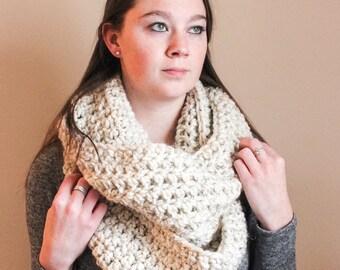 Long Chunky Crochet Infinity Scarf - Wheat - The Ferrier Scarf