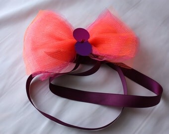 Hair Bow - Neon Orange and Pink - Clip On