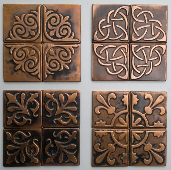 Copper Kitchen Backsplash Set Of 4 Tiles Rustic By